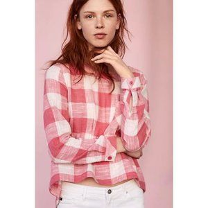 Anthropologie Cloth & Stone Pink Gingham Top
